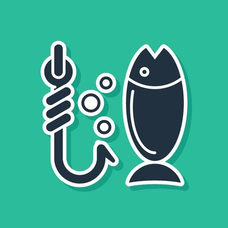 Blue Fishing icon isolated on green background. Fish and hook. Strategy concept. Bait sign. Vector Illustration