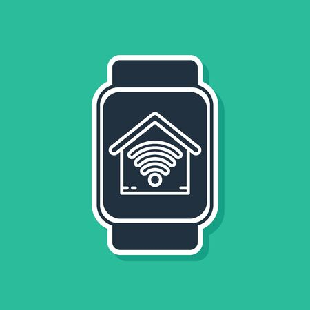 Blue Smart watch with smart home with wi-fi icon isolated on green background. Remote control. Vector Illustration