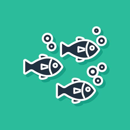 Blue Fish icon isolated on green background. Vector Illustration