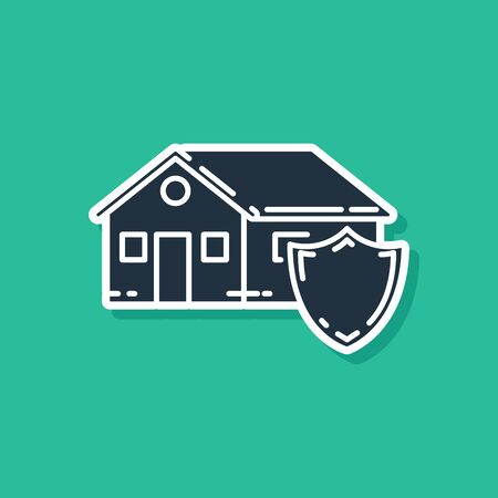Blue House under protection icon isolated on green background. Protection, safety, security, protect, defense concept. Vector Illustration