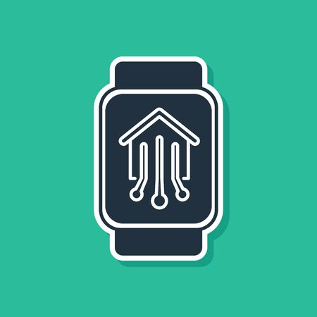 Blue Smart home with smart watch icon isolated on green background. Remote control. Vector Illustration