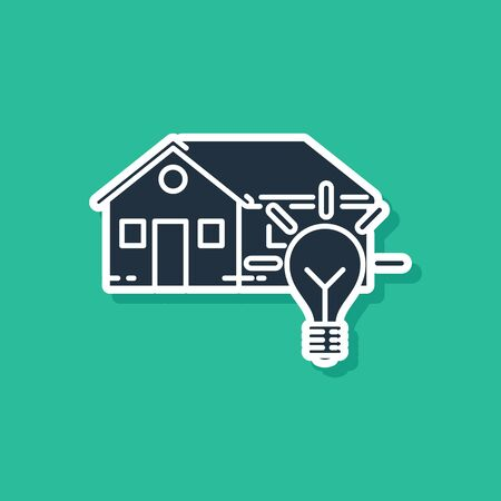 Blue Smart house and light bulb icon isolated on green background. Vector Illustration Ilustracja