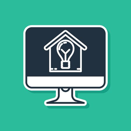 Blue Computer monitor with smart house and light bulb icon isolated on green background. Vector Illustration Ilustracja