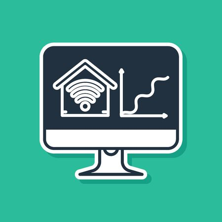 Blue Computer monitor with smart home with wi-fi icon isolated on green background. Remote control. Vector Illustration