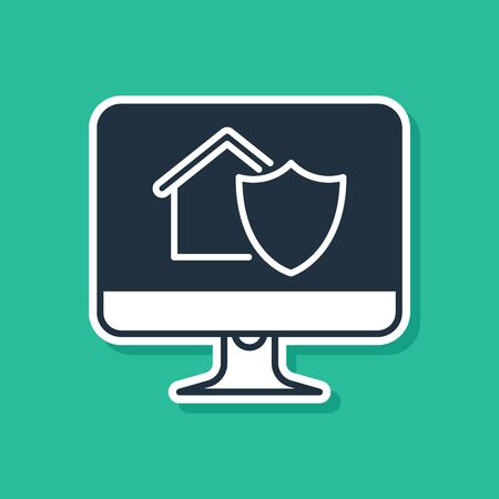 Blue Computer monitor with house under protection icon isolated on green background. Protection, safety, security, protect, defense concept. Vector Illustration