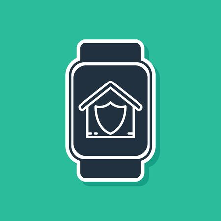 Blue Smart watch with house under protection icon isolated on green background. Protection, safety, security, protect, defense concept. Vector Illustration