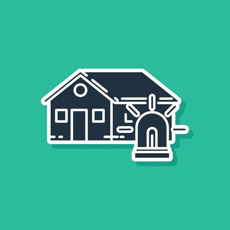 Blue Smart house and alarm icon isolated on green background. Security system of smart home. Vector Illustration