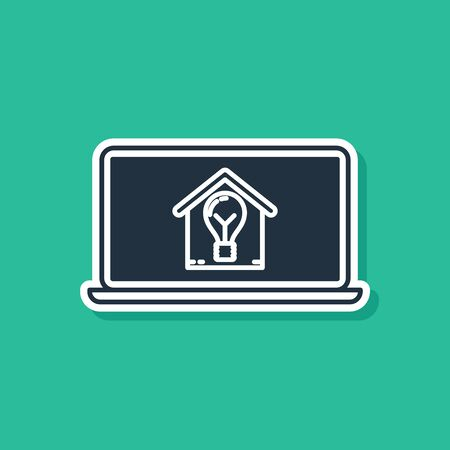 Blue Laptop with smart house and light bulb icon isolated on green background. Vector Illustration
