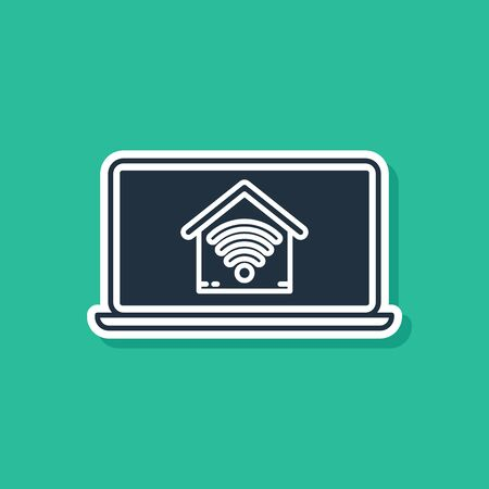 Blue Laptop with smart home with wifi icon isolated on green background. Remote control. Vector Illustration