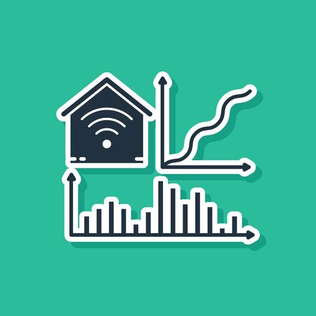 Blue Smart home with wifi icon isolated on green background. Remote control. Vector Illustration