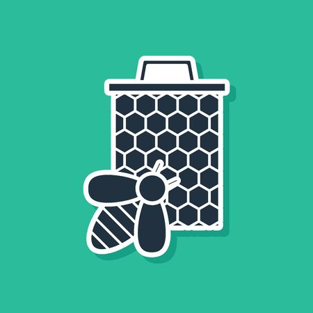Blue Bee and honeycomb icon isolated on green background. Honey cells. Sweet natural food. Honeybee or apis with wings symbol. Flying insect. Vector Illustration Illusztráció