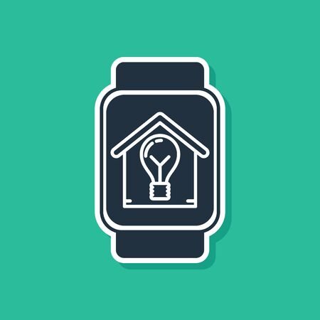 Blue Smart watch with smart house and light bulb icon isolated on green background. Vector Illustration