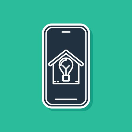 Blue Mobile phone with smart house and light bulb icon isolated on green background. Vector Illustration Ilustração