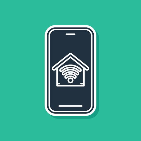 Blue Mobile phone with smart home with wifi icon isolated on green background. Remote control. Vector Illustration Ilustração