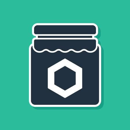 Blue Jar of honey icon isolated on green background. Food bank. Sweet natural food symbol. Vector Illustration