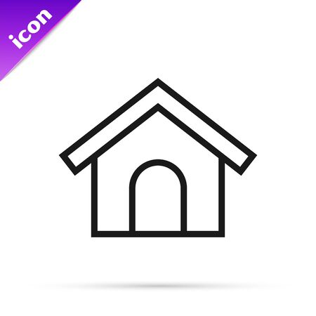 Black line Dog house icon isolated on white background. Dog kennel. Vector Illustration