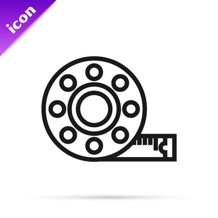 Black line Tape measure icon isolated on white background. Measuring tape. Vector Illustration