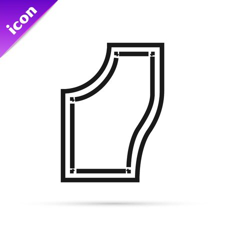 Black line Sewing Pattern icon isolated on white background. Markings for sewing. Vector Illustration  イラスト・ベクター素材
