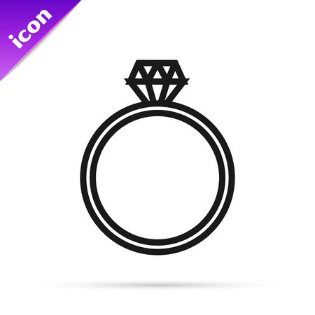 Black line Diamond engagement ring icon isolated on white background. Vector Illustration