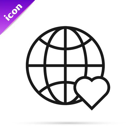Black line The heart world - love icon isolated on white background. Vector Illustration
