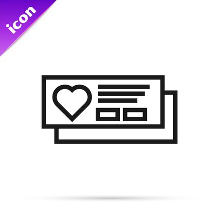 Black line Ticket with heart icon isolated on white background. Boarding pass with heart. Vector Illustration