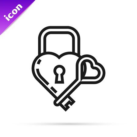 Black line Castle in the shape of a heart and key icon isolated on white background. Locked Heart. Love symbol and keyhole sign. Vector Illustration