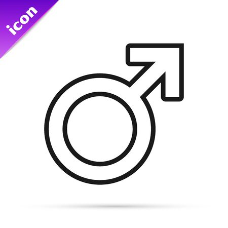 Black line Male gender symbol icon isolated on white background. Vector Illustration