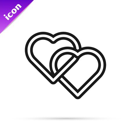 Black line Two Linked Hearts icon isolated on white background. Romantic symbol linked, join, passion and wedding. Valentine day symbol. Vector Illustration