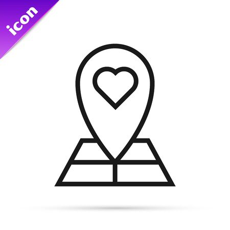 Black line Map pointer with heart icon isolated on white background. Valentines day. Love location. Romantic map pin. Vector Illustration