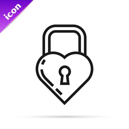 Black line Castle in the shape of a heart icon isolated on white background. Locked Heart. Love symbol and keyhole sign. Vector Illustration Ilustracja