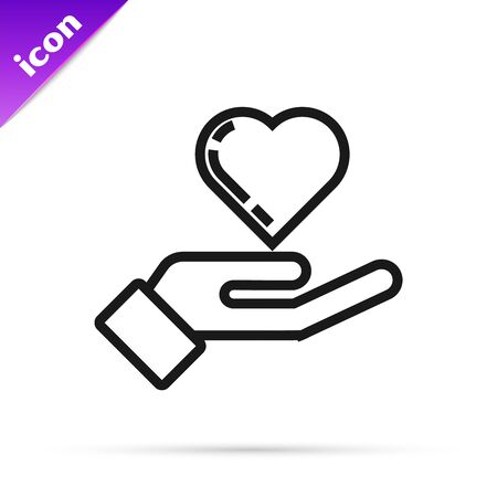 Black line Heart on hand icon isolated on white background. Hand giving love symbol. Vector Illustration