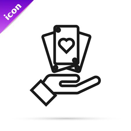 Black line Hand holding playing cards icon isolated on white background. Casino game design. Vector Illustration