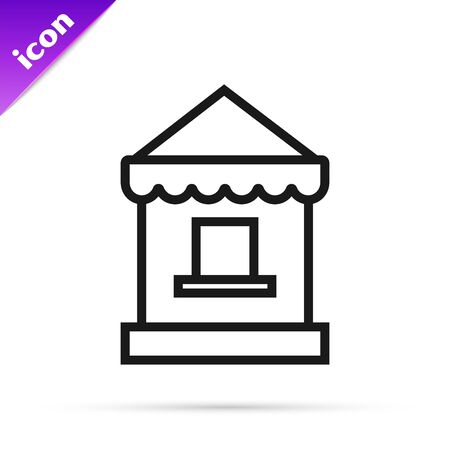 Black line Ticket box office icon isolated on white background. Ticket booth for the sale of tickets for attractions and sports. Vector Illustration