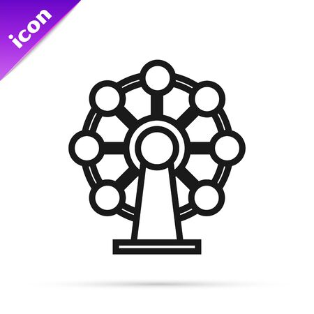 Black line Ferris wheel icon isolated on white background. Amusement park. Childrens entertainment playground, recreation park. Vector Illustration