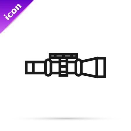Black line Sniper optical sight icon isolated on white background. Sniper scope crosshairs. Vector Illustration  イラスト・ベクター素材