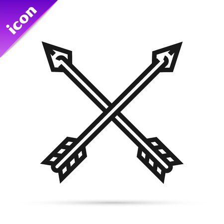 Black line Crossed arrows icon isolated on white background. Vector Illustration