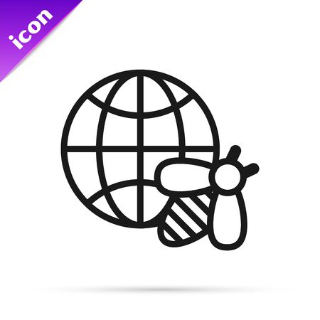 Black line Honeycomb map of the world and bee icon isolated on white background. World bee day. Concept ecological event. Vector Illustration