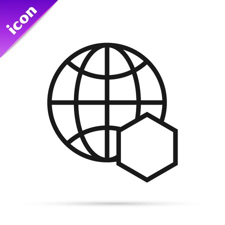 Black line Honeycomb map of the world icon isolated on white background. World bee day. Concept ecological event. Vector Illustration  イラスト・ベクター素材