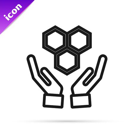 Black line Honeycomb and hands icon isolated on white background. Honey cells symbol. Sweet natural food. Vector Illustration