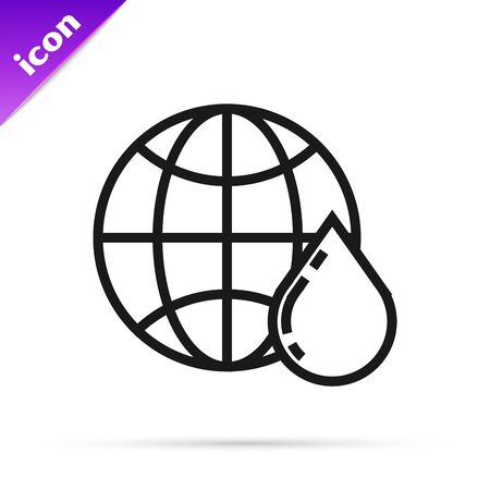 Black line Honeycomb map of the world icon isolated on white background. World bee day. Concept ecological event. Vector Illustration Ilustracja