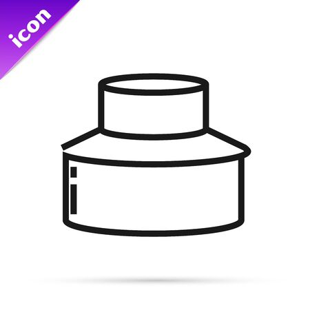Black line Beekeeper with protect hat icon isolated on white background. Special protective uniform. Vector Illustration