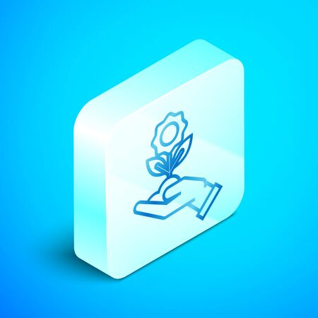 Isometric line Hand holding flower icon isolated on blue background. Seed and seedling. Planting sapling. Ecology concept. Silver square button. Vector Illustration