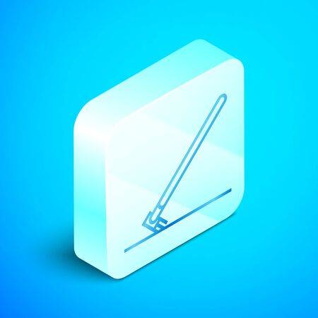 Isometric line Garden rake in work icon isolated on blue background. Tool for horticulture, agriculture, farming. Ground cultivator. Silver square button. Vector Illustration