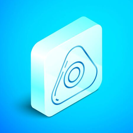 Isometric line Sewing chalk icon isolated on blue background. Silver square button. Vector Illustration