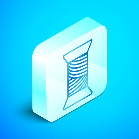 Isometric line Sewing thread on spool icon isolated on blue background. Yarn spool. Thread bobbin. Silver square button. Vector Illustration