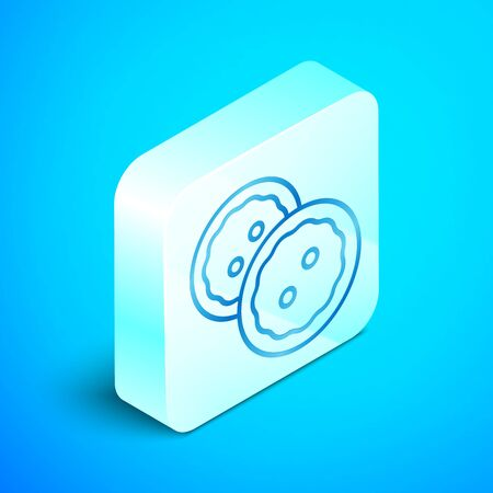 Isometric line Sewing button for clothes icon isolated on blue background. Clothing buttons. Silver square button. Vector Illustration