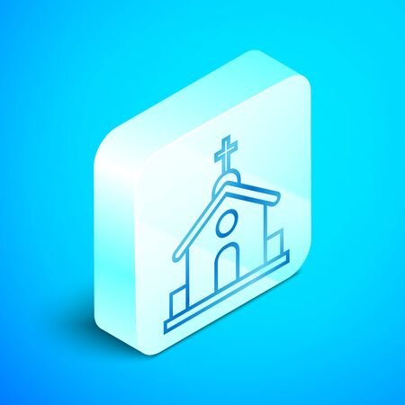 Isometric line Church building icon isolated on blue background. Christian Church. Religion of church. Silver square button. Vector Illustration