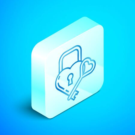 Isometric line Castle in the shape of a heart and key icon isolated on blue background. Locked Heart. Love symbol and keyhole sign. Silver square button. Vector Illustration