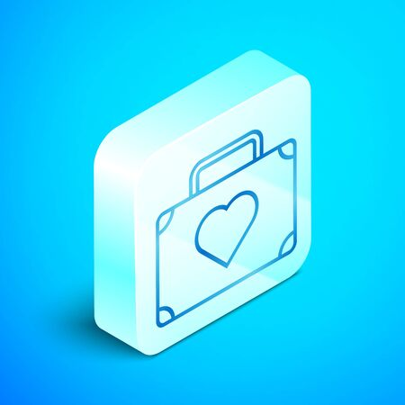 Isometric line Suitcase for travel with heart icon isolated on blue background. Honeymoon symbol. Traveling baggage sign. Travel luggage icon. Silver square button. Vector Illustration