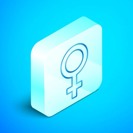 Isometric line Female gender symbol icon isolated on blue background. Venus symbol. The symbol for a female organism or woman. Silver square button. Vector Illustration